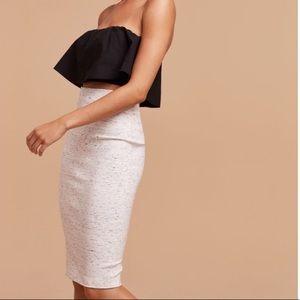 Wilfred Lis Black stretch bodycon midi skirt